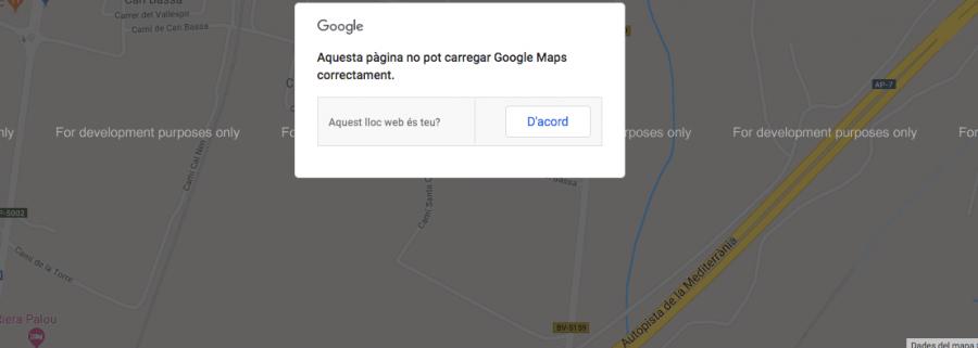 El mapa de la meva web dona un missatge d'error.
